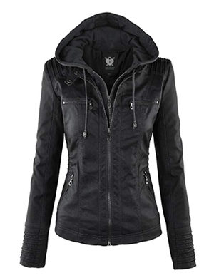 WJC663 Womens Removable Hoodie Motorcyle Jacket M Black