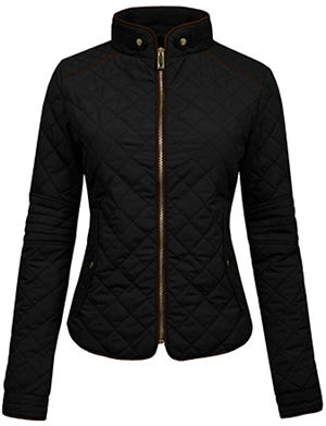 NE PEOPLE Womens Lightweight Quilted Zip Jacket, Small, NEWJ22BLACK