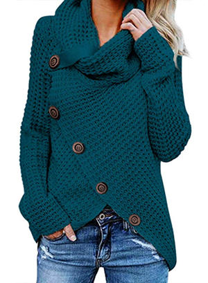 Asvivid Womens Turtle Cowl Neck Asymmetric Wrap Lightweight Ladies Pullover Sweaters with Button Details S Blue